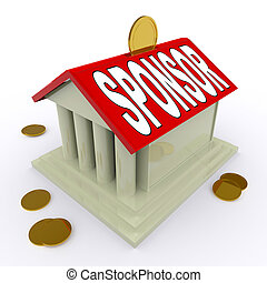 Sponsor On House Or Money Box Means Sponsoring Home -...