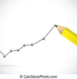 drawing a business graph. illustration design over a white...