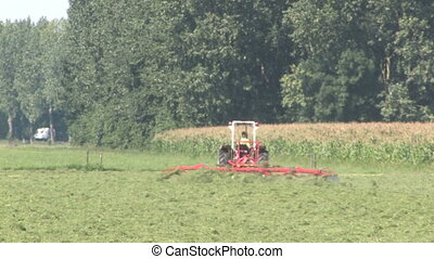 Mowing the grass - Farmer is mowing the grass fields