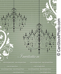 Invitation Card - vintage invitation card with chandelier...