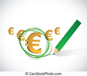 euro currency selection. big profits concept