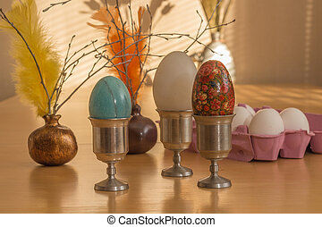 Ester eggs and feathers with more eggs