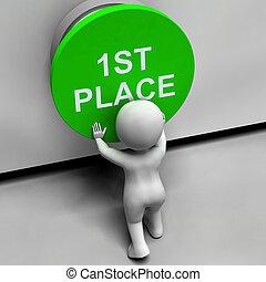 primeiro, lugar, botão, mostra, 1º, lugar, e,...