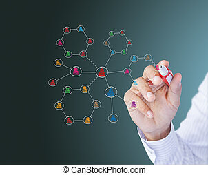 Social network structure - Business man drawing social...