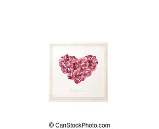 Vintage vector card with floral heart - Vintage card with...