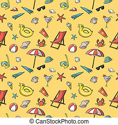 Seamless summer vacation travel pattern background vector...