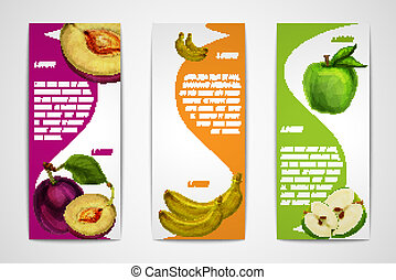 Mixed organic fruits banners collection - Mixed natural...