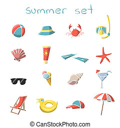 Summer vacation travel icons set of snorkel mask crab panama...