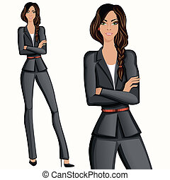 Business style attractive confident woman - Business style...
