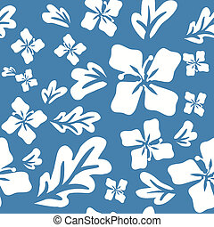 Tropical summer flowers seamless pattern