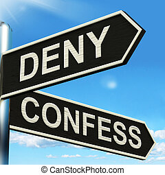 Deny Confess Signpost Means Refute Or Admit To - Deny...