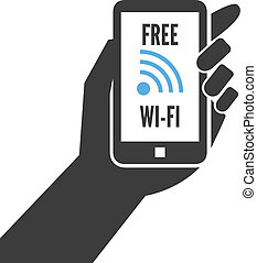 Hand holding smartphone with free wifi wireless connection...