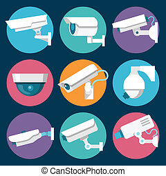 Security Cameras Icons Set - Digital CCTV multiple security...