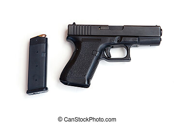 Pistol and Magazine - Semi Automatic Pistol with a Loaded...