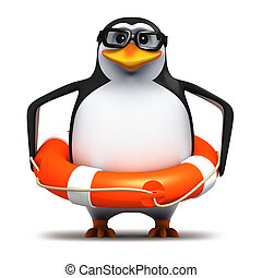 3d Penguin student rescue - 3d render of a penguin in...