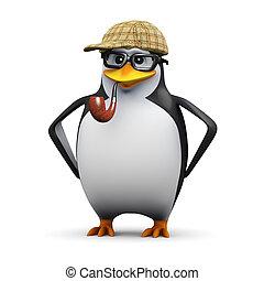 3d Sherlock penguin - 3d render of a penguin wearing glasses...