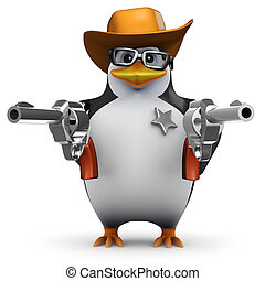 3d Penguin sheriff with two guns - 3d render of a penguin in...