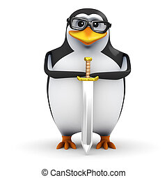 3d Heraldic penguin - 3d render of a penguin wearing glasses...