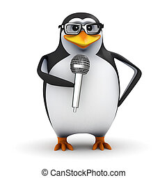 3d Penguin student stand-up comedian - 3d render of a...