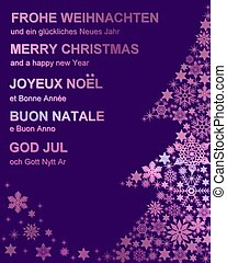 multi-lingual merry christmas card