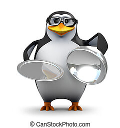3d Penguin silver service - 3d render of a penguin offering...