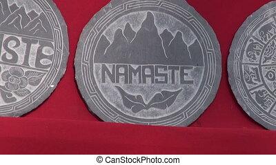 stone souvenirs in Katmandu, Nepal. - various beautiful...