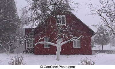 winter snow falling and house - winter snow falling and farm...