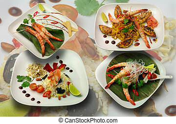 Japanese cuisine; seafood; low-fat food - Oriental cuisine,...