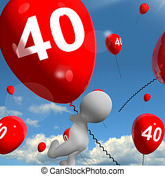 Number 40 Balloons Shows Fortieth Happy Birthday Celebration...