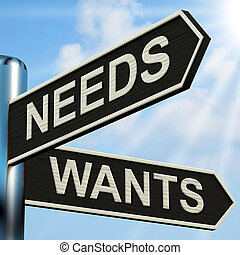 necesidades, Wants, Poste indicador, medios, necesidad, y,...