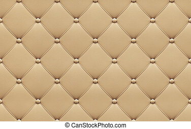 Seamless beige leather upholstery pattern, 3d illustration