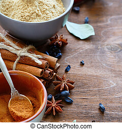 spices - cinnamon, ginger, anise - spices - cinnamon,...