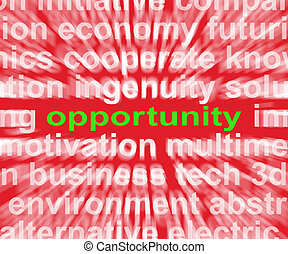 Opportunity Word Shows Good Chance Or Favourable...