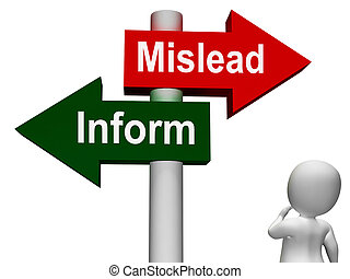 Mislead Inform Signpost Shows Misleading Or Informative...