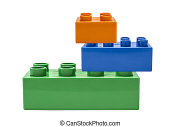 colorful building block isolated on white