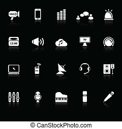 Sound icons with reflect on black background