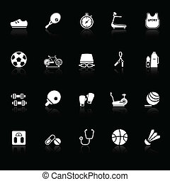 Fitness sport icons with reflect on black background, stock...