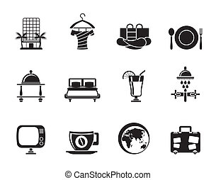 motel and holidays icons - Silhouette Hotel, motel and...
