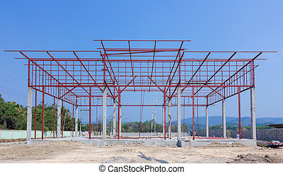 Construction site with building and steelwork