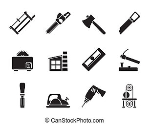 Woodworking industry icons - Silhouette Woodworking industry...