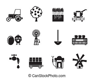 farming industry icons - Silhouette farming industry and...