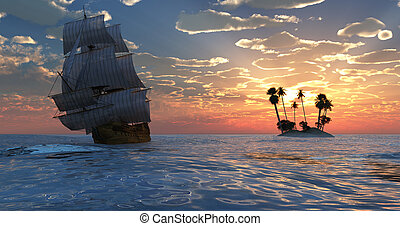 Sailing and sunset - Old sailboat and sunset 3d