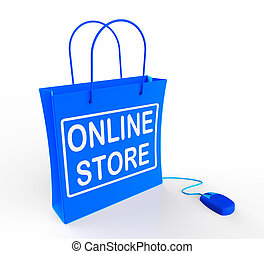Online Store Bag Represents Internet Commerce and Selling -...