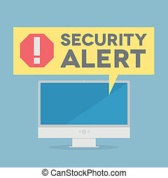 Security Alert - minimalistic illustration of a monitor with...