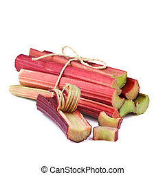 rhubarb stalks on white background - bundle of rhubarb...