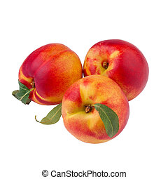 peach or nectarine isolated on white background