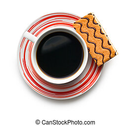 sweet dessert with coffee mug on white background