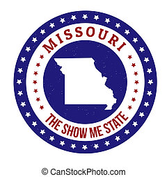 Missouri stamp - Vintage stamp with text The Show Me State...