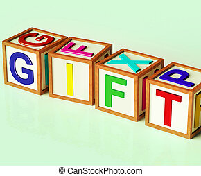 Gift Blocks Mean Giveaway Present Or Offer - Gift Blocks...