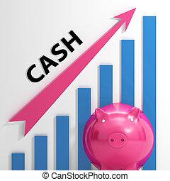 Cash Graph Shows Money Earnings And Savings - Cash Graph...